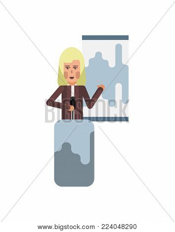 Blonde woman on tribune doing business presentation with financial diagram. Corporate business people isolated vector illustration.