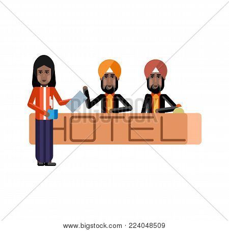 Indian receptionists standing at hotel reception desk. Corporate business people isolated vector illustration.