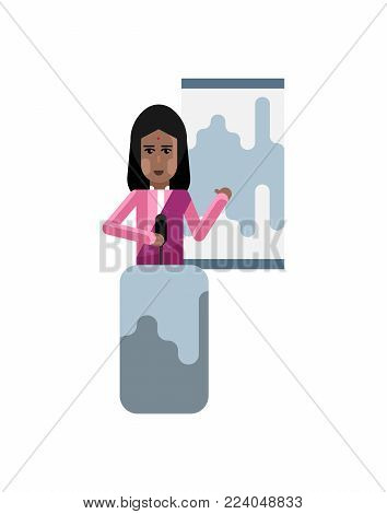 Indian woman on tribune doing business presentation with financial diagram. Corporate business people isolated vector illustration.