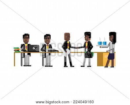 Business meeting african businessmen in conference room. Corporate business people isolated vector illustration.