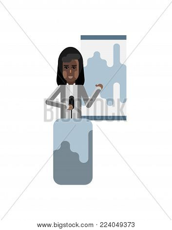 African speaker on tribune doing business presentation with financial diagram. Corporate business people isolated vector illustration.
