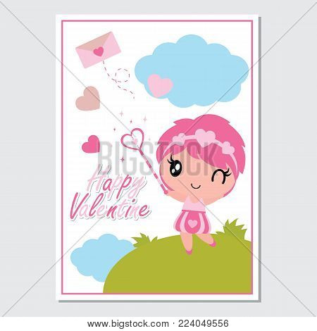 Cute girl with her magic wand vector cartoon illustration for Happy Valentine card design, postcard, and wallpaper