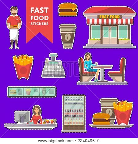 Street fast food cafe labels set. Restaurant takeaway menu with coffee cup, french fries, burger. Shop counter with cashier, showcase refrigerator, cafe facade, waiter with food vector illustration