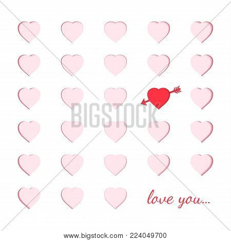 Scrapbooking paper card with carved pink hearts and one unlike red heart with an arrow. Origami papercut concept and Valentine's day idea vector art and illustration. Symbol of love for greeting card.