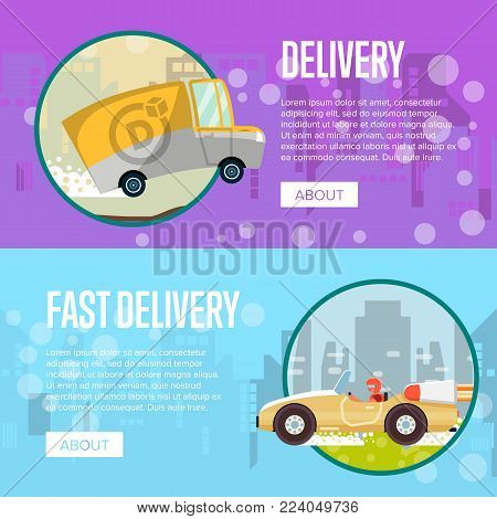 Food and furniture store delivery posters with courier in speedy sport car and commercial wagon. Advertising for online ordering goods and express delivery to customer door vector illustration.