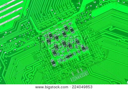 Close up of printed green computer circuit board