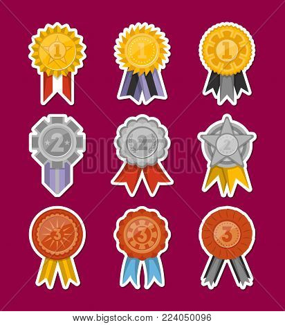 Golden, silver and bronze medals with ribbons collection. First, second and third place award vector labels, victory prize stickers, winner trophy, champion medallions isolated vector illustrations.