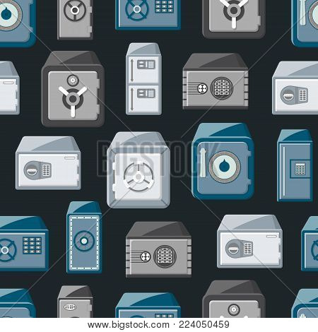 Seamless pattern with safe boxes isolated on black background. Bank deposit boxes with closed door and buttons of electronic combination lock. Money storage, financial safety vector illustration.
