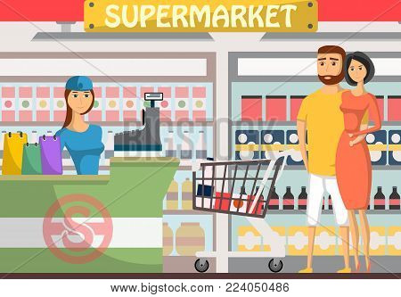 Young couple shopping at supermarket banner. Retail cashier in uniform with cash register and buyers, shop interior with shelves full of products and drinks, daily grocery purchase vector illustration