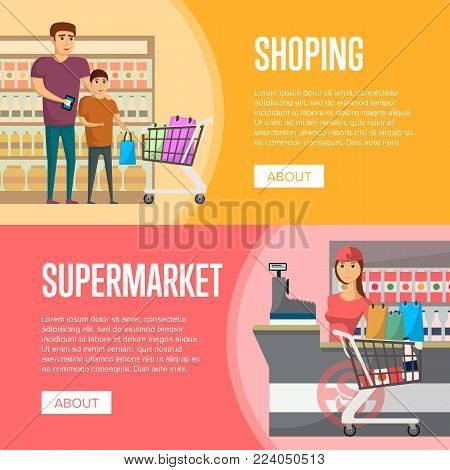 Family shopping at supermarket. Retail cashier in uniform with cash register and buyers, shop interior with shelves full of products. Father and son with supermarket trolley basket vector illustration
