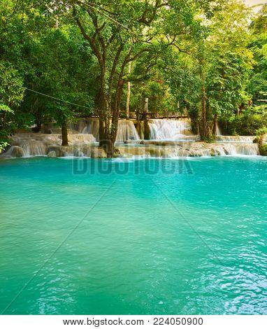 Tat Sae Waterfalls. Beautiful landscape. Luang Prabang. Laos.
