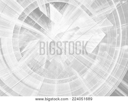 White background - abstract computer-generated image. Pale tech style disk or tunnel with lines and dots. For banners, covers, posters.