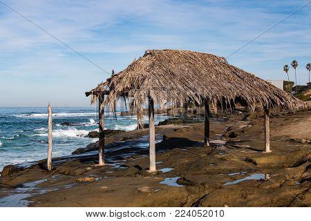 Iconic surfer shack at Windansea Beach in La Jolla, California.