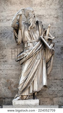 ROME, ITALY - SEPTEMBER 03: Saint Paul the Apostle, porta del popolo in Rome, Italy on September 03, 2016.