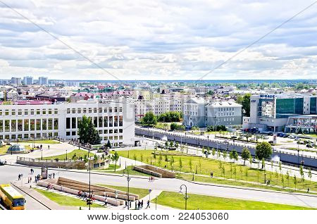 KAZAN, RUSSIA - JULY 26, 2014: View of the streets, buildings of the city of Kazan from the walls of the Kazan Kremlin. Tatarstan Republic. Translation: conditioners, opera, joker, kremlin, ros-tour