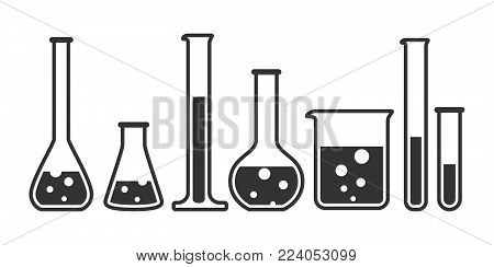 Laboratory glassware instruments icons set. Equipment for chemical lab in flat style. Beaker and flask, chemical glass for science lab. Vector illustration