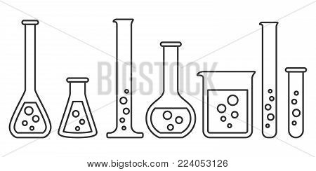 Laboratory glassware instruments icons set. Equipment for chemical lab in linear style. Beaker and flask, chemical glass for science lab. Vector illustration