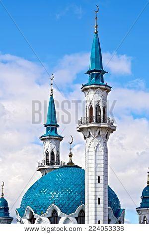 KAZAN, RUSSIA - JULY 26, 2014: Domes of the Kul Sharif mosque in the territory of the Kazan Kremlin against the blue sky. Tatarstan Republic.