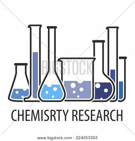 Laboratory glassware instruments set in blue colors. Banner with equipment for chemical lab in flat style. Beaker and flask, chemical glass for science lab. Vector illustration