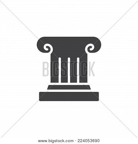 Antique column icon vector, filled flat sign, solid pictogram isolated on white. Pillar, Ionic column symbol, logo illustration.
