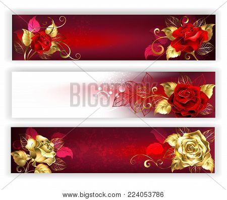 Three horizontal banners with red and gold jewelry roses with gold leaf. Golden roses. Design with roses.