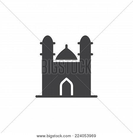 Mosque with minaret towers icon vector, filled flat sign, solid pictogram isolated on white. Islamic mosque building symbol, logo illustration.