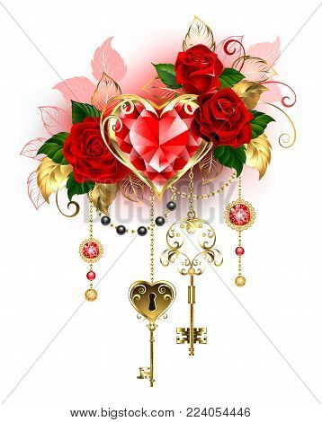 Precious ruby ​​heart decorated with red roses, gold chains, antique key on a white background. Ruby heart.