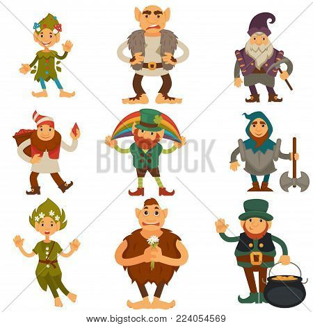 Gnomes, dwarfs or elf and leprechaun cartoon magic characters. Vector isolated icons of ogre pixie and forest elfin, fairy tale cute smiling gnome and happy garden dwarf