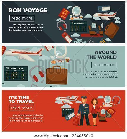Bon voyage around world and time to travel promotional Internet posters with capacious airliner, captain in uniform, pretty stewardess and accessories for journey cartoon flat vector illustrations.