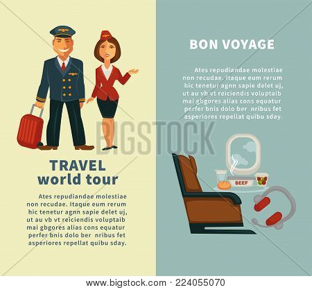 Travel world tour and bon voyage vertical posters set with captain in uniform, young stewardess, comfortable seat, modern headphones and table with food isolated cartoon flat vector illustrations.