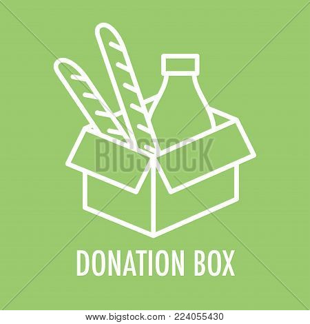 Donation box line icon. Logo template for charity and donation box with food in linear style. Vector illustration isolated on green.