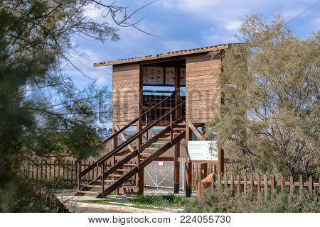 Observation point in Oroklini lake area in Larnaca, Cyprus.