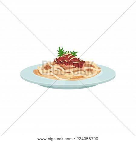Spaghetti pasta with sauce, Italian cuisine vector Illustration on a white background
