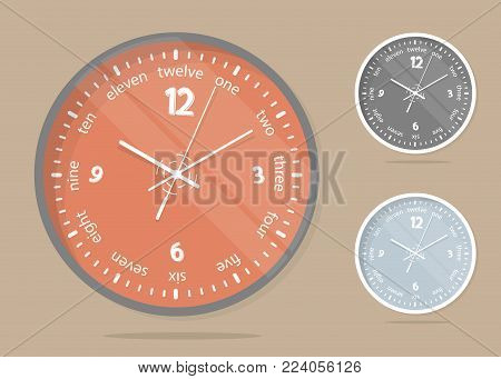 Wall clocks face. Set dial plate. Concept cartoon style. Vector illustration.