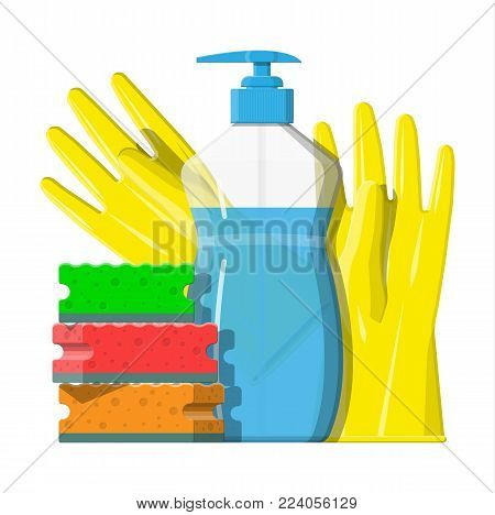 Bottle of detergent, sponge and rubber gloves. Accessories for washing dishes and house cleaning. Dishwashing. Vector illustration in flat style
