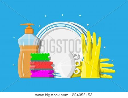 Bottle of detergent, sponge and rubber gloves. Clean teacups and ceramic plate. Accessories for washing dishes and house cleaning. Dishwashing. Vector illustration in flat style