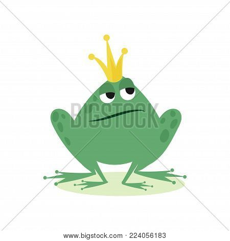 Prince frog in golden crown, fairy tale character cartoon vector Illustration on a white background