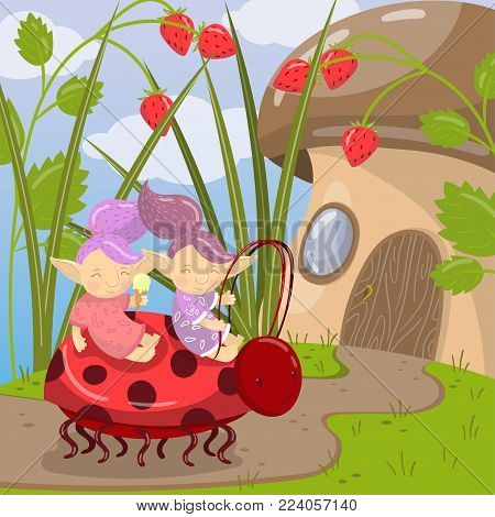 Cute troll characters riding on ladybug to mushroom house, colorful vector illustration in cartoon style.