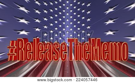 3D Illustration. Hash tag Release the memo in red letters with a gold border against an American flag background