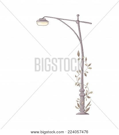 Streetlight. Vector lamppost element in trendy style. Isolated on white background