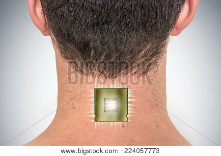 Bionic chip (processor) implant in male human body - future technology and cybernetics concept