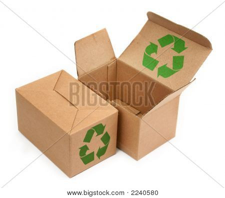 two cardboard boxes with recycle symbol on white background minimal shadow among poster