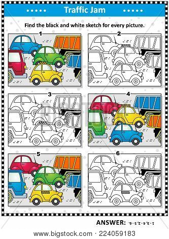 Visual puzzle: Find the black and white sketch for every colorful picture of cars and trucks on the road. Answer included.