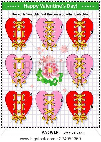 Valentine's Day themed visual puzzle with heart shaped cards and lacings: For each front side find the corresponding back side. Answer included.