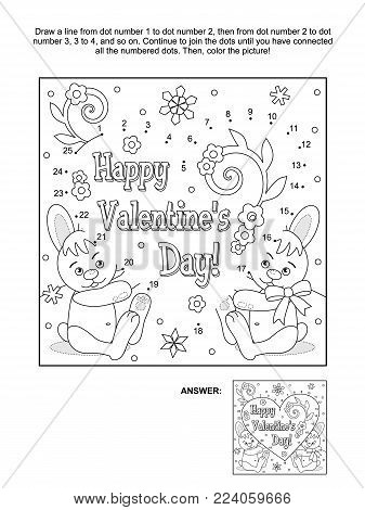 Valentine's Day themed connect the dots picture puzzle and coloring page with hidden heart, greeting text, two cute bunnies, flowers and snowlakes. Answer included.