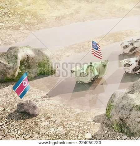 Conflict between USA and North Korea  -  Concept illustration of the real politics conflict. 3D illustration