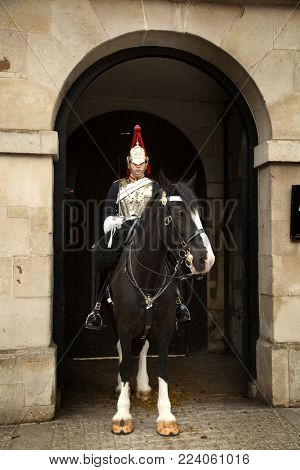 LONDON-UK, JUNE 8, 2017:  Portrait of a Royal Horse Guard at Whitehall in London. It  was a cavalry regiment of the British Army, part of the Household Cavalry