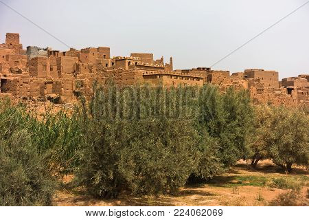 Berber village built is Casbah style near Todra gorge in Mid Atlas, Morocco, Africa