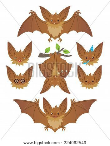 Bat in various poses. Flying, hanging. Brown bat-eared snouts with different emotions. Vector illustration of modern flat animal emoticons on white background. Cute mascot emoji set. Halloween smiley.