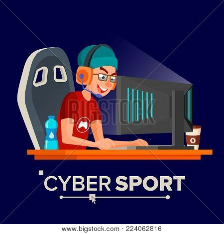 Cyber Sport Player Vector. Participant Of Cyber Sport Tournament. Event. Esport Event Poster Concept. Isolated Flat Cartoon Character Illustration